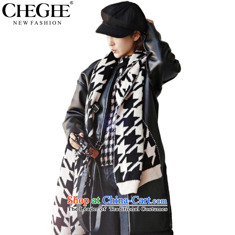 Chegee autumn and winter female warm black and white checkered scarf western chidori grid Knitting scarves knitted unisex in a black and white