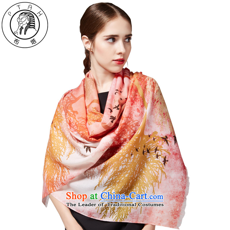 Buta new wooler scarf female spring and autumn warm winter stamp shawl long 4PT3594313orange