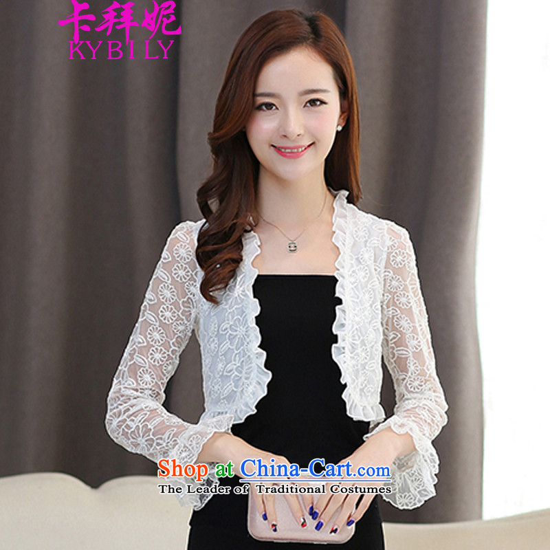 The2015 autumn card Connie new stylish women wild lace engraving long-sleeved cardigan small shawl small shoulder a light jacket in female whiteM