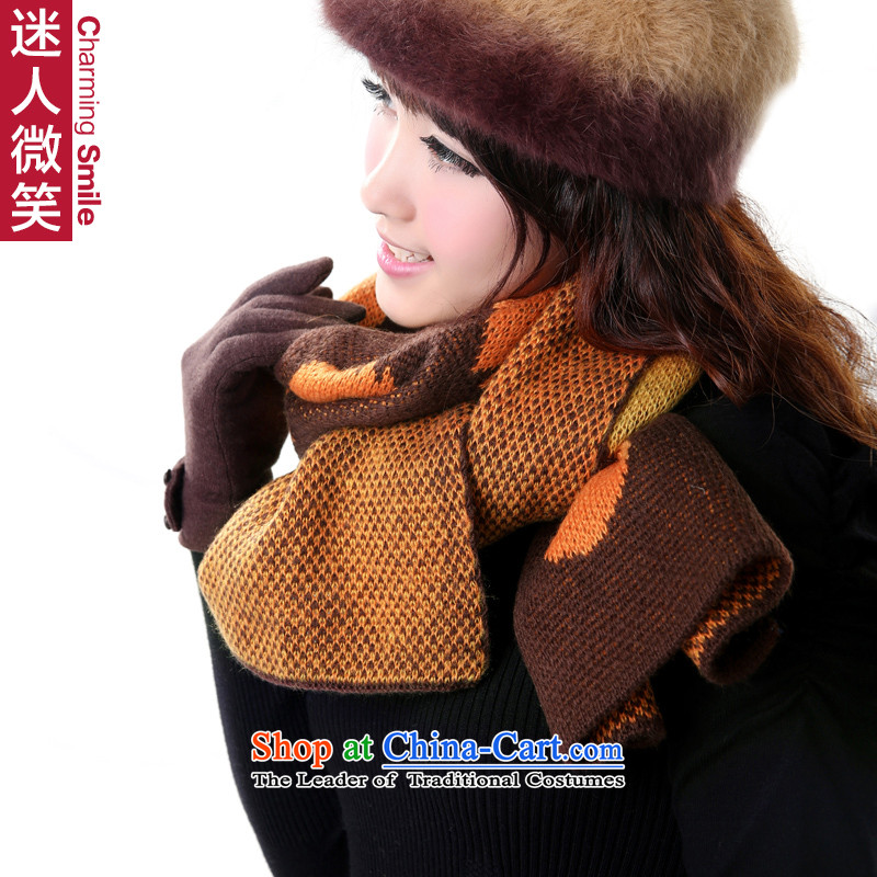 The charming smile2015 new autumn and winter oval globe lovely duplex Ms. warm color curry scarf