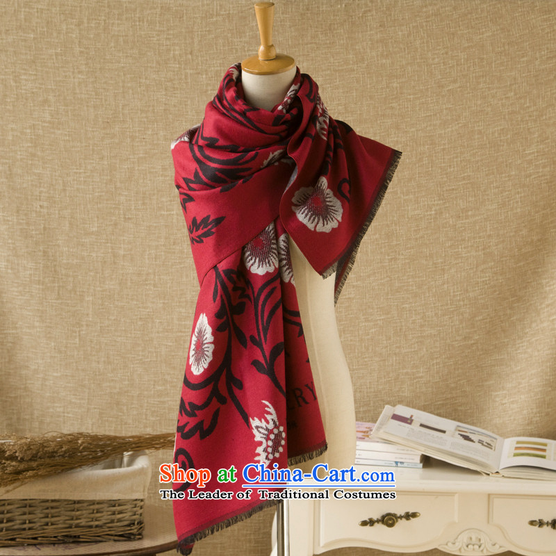 Rui,Ms. Quarter 2015 national stamp brushed process warm scarf double-sided color with two shawls middle - Red