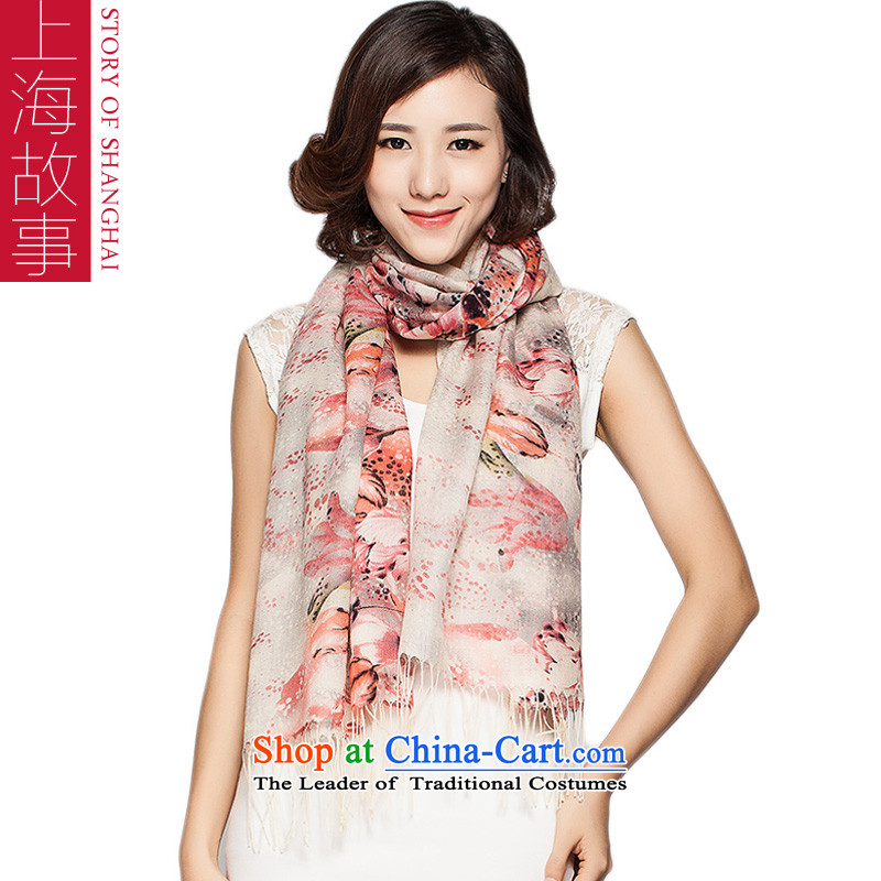 Shanghai Story 2015 autumn and winter Ms. new stamp wooler scarf happiness flowers - Orange