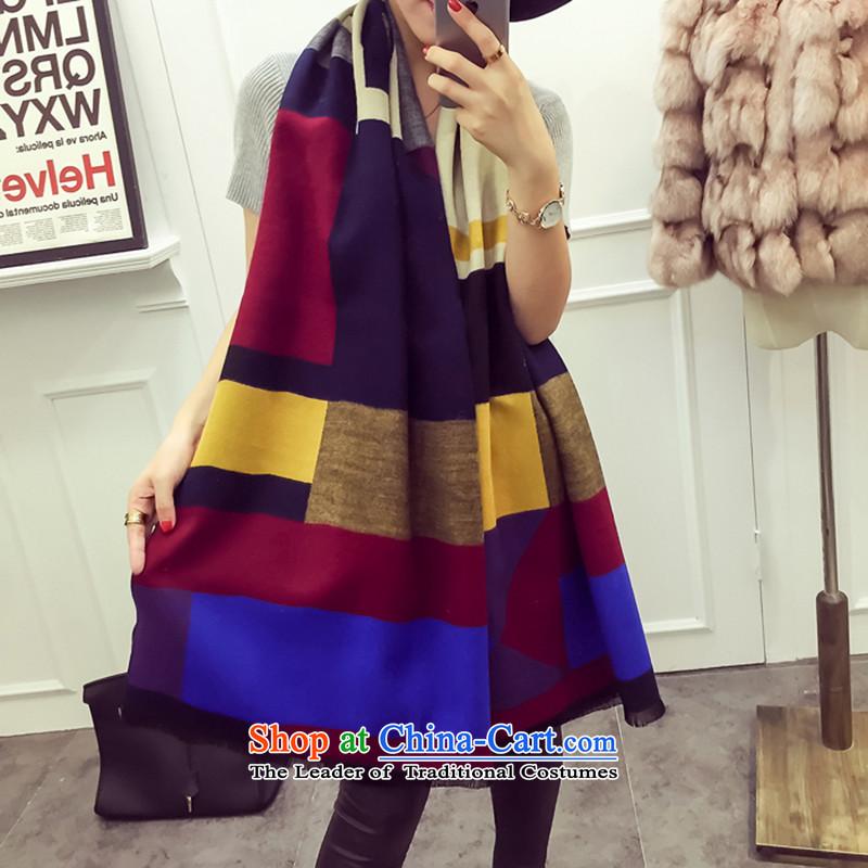 El detailed Mok 2015 new stylish autumn and winter oversized rainbow scarves, warm thick shawl wild emulation cashmere cloak navy blue