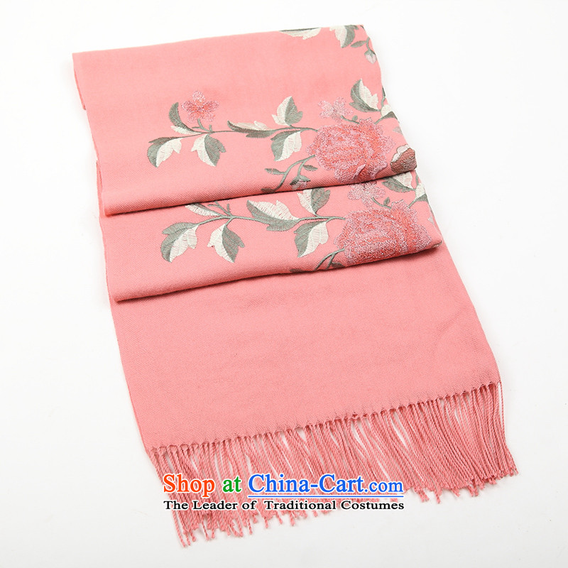 Hang Cheung Classic Korean source Ms. Embroidered scarf shawl ultra long large dual-use thick warranty autumn and winter cold su wool 2#. red leather