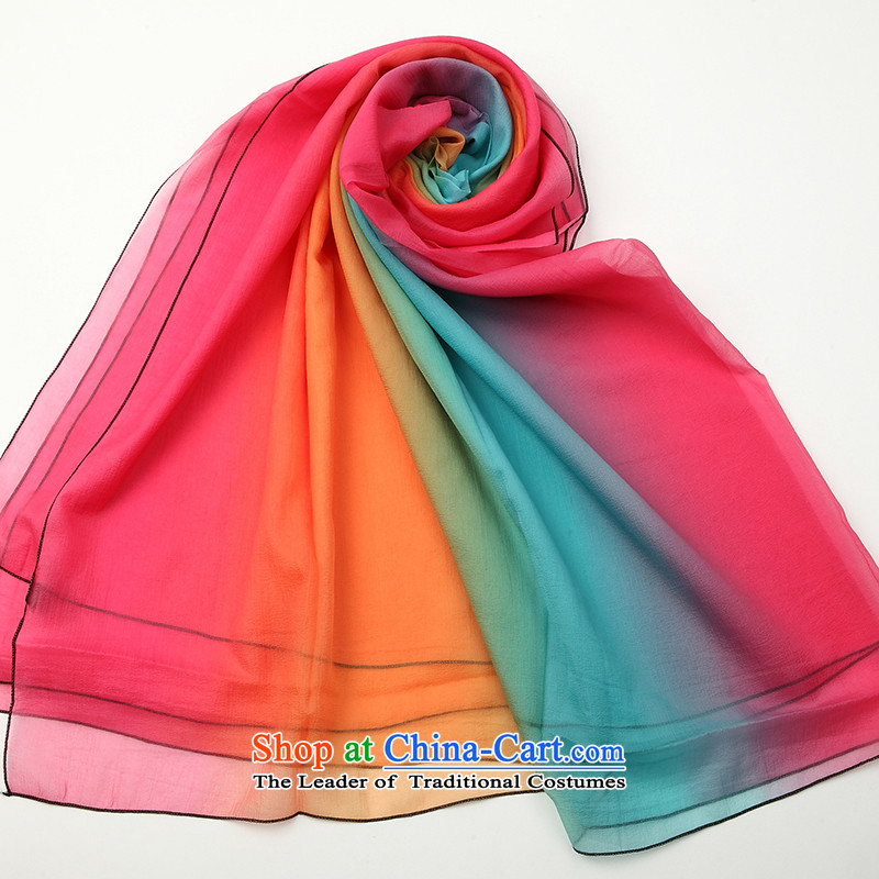 Hengyuan Cheung spring and summer solid color silk scarf Korean president scarf ultra-snow spinning long towel sunscreen shawl聽FS001. Beach Towel