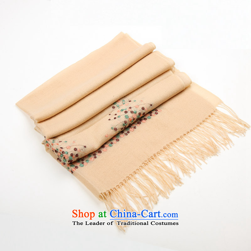 Ms. Cheung Hengyuan upscale wooler scarf long rose of autumn and winter female shawl embroidered scarf two beige .