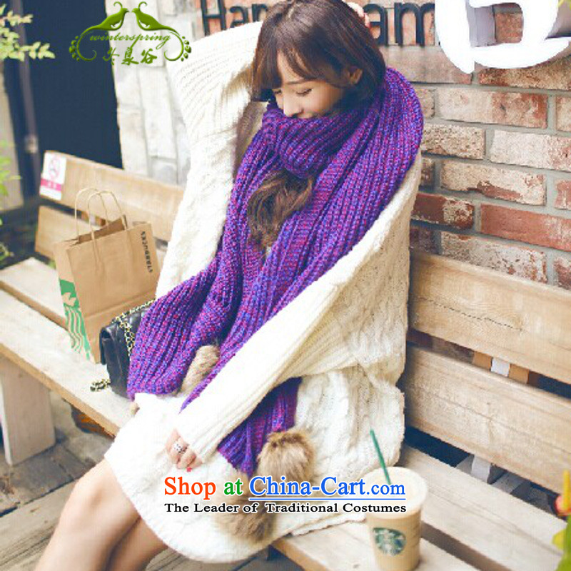Fuyuizumi Valley knitting long thick spell color shawl winter a rabbit woolen scarves knitted ball angled Purple