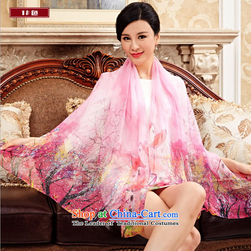 Shanghai Story autumn and winter new herbs extract Ms. scarves chiffon painted silk shawls warm gift Scarf1#