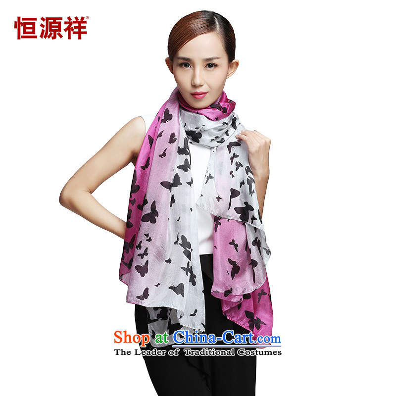 Hengyuan Cheung silk scarves, long towel autumn scarf nature 105*80 romantic butterflies fly  105*175( C270- Butterfly Dance L*W)