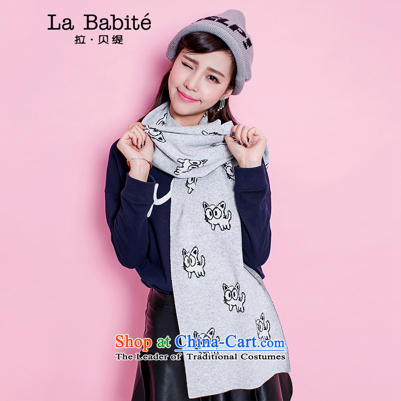 La Chapelle-economy 2015 winter new cartoon cats stamp Knitting scarves Female Light Gray - Code