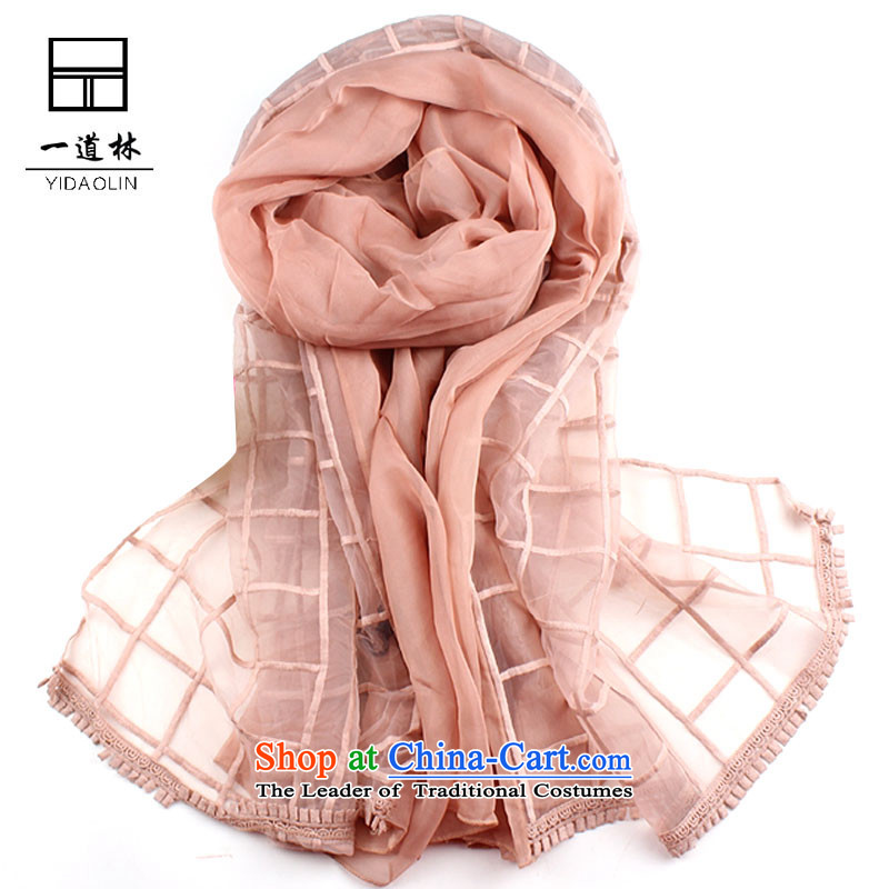 A silk scarf double-pure color long scarf H530 Ms. Leather Pink