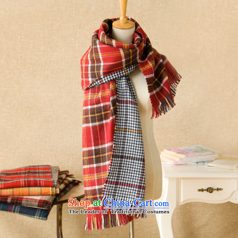 The Korean version of autumn and winter double sided knitting plaid chidori Ms. thick warm Fancy Scarf audience miles in search of her - Tangerine Orange.