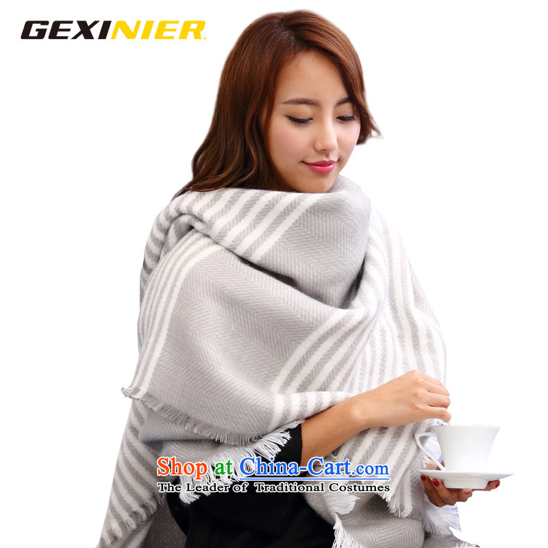 Song Shinille stylish Preppy Stripe large scarf female autumn and winter Korean male and more generous towel shawl gray and white