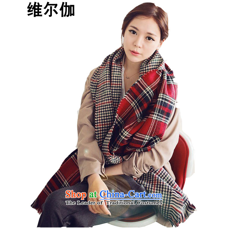 D gamma聽2015 autumn and winter new Korean version 2-sided latticed shawl thick a rough edges chidori grid warm scarf female聽W8040聽warm red.