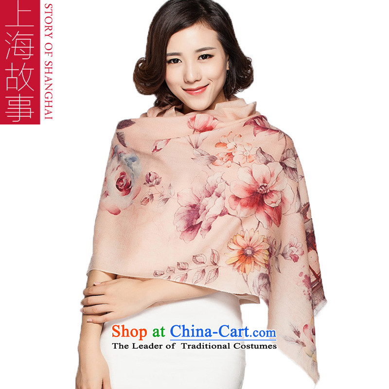 Shanghai Story Ms. wooler scarf autumn and winter new stamp female warm shawl flowers rose