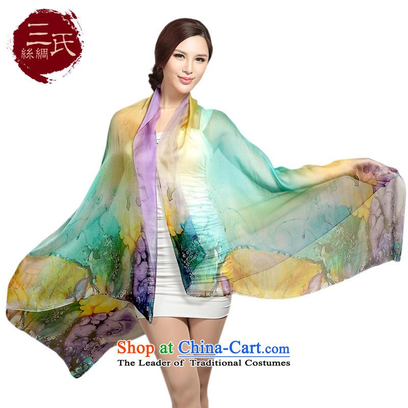 Three (herbs extract silk scarfs Ms. silk scarf chiffon digital printing Fancy Scarf colorful s9102 tri-color