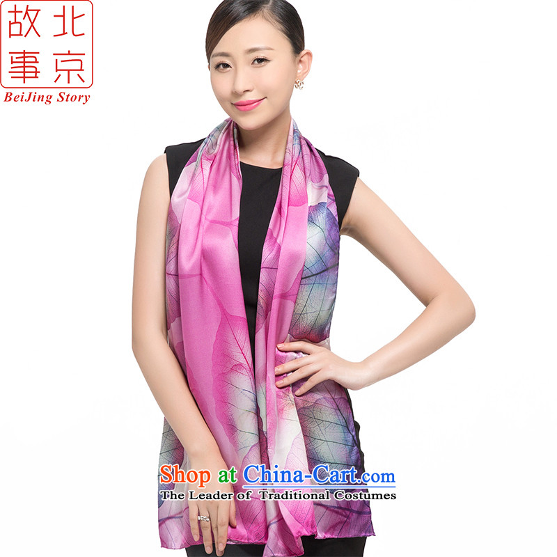 Beijing story scarf female silk scarf autumn and winter herbs extract poster silk shawls S14004 multimedia leaf