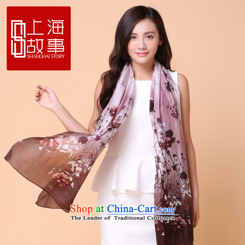 Shanghai Story scarf long stamp silk scarves undersampling shadow flower herbs extract shawl summer sunscreen scarves undersampling shadow flower - rubber red
