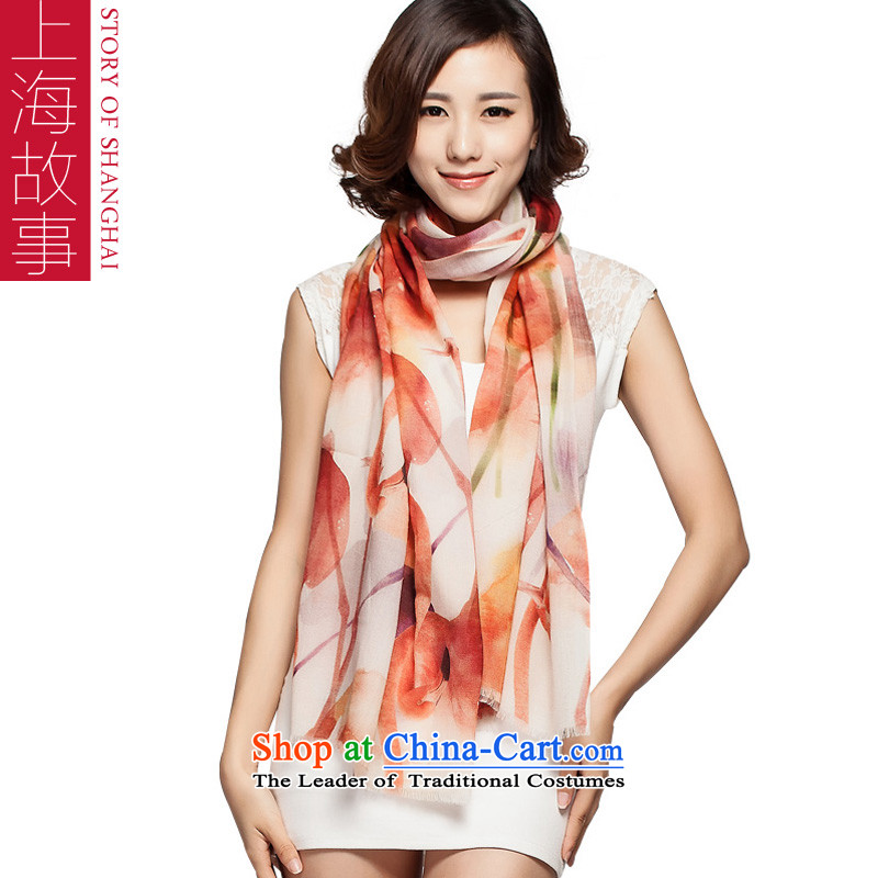 Shanghai Story 2015 autumn and winter new 100 Wool scarves, warm shawl tumeric Flowers