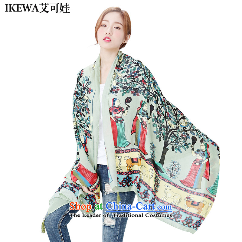 Hiv can be wa IKEWA emulation silk scarves scarves, 2015 autumn and winter han bum-Cotton Twill fresh flower edging cashew nuts Fancy Scarf Army Green