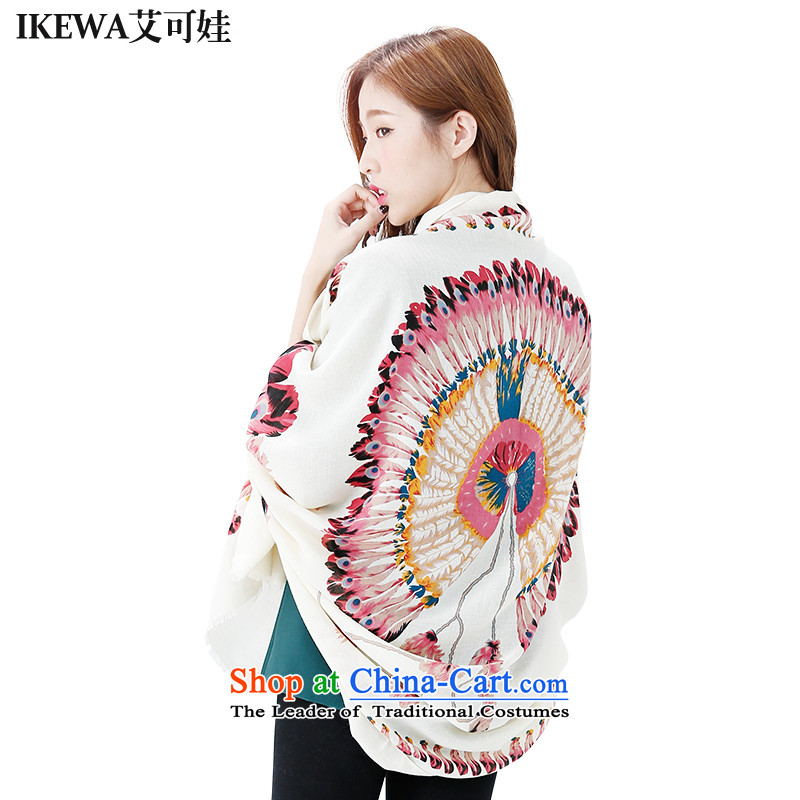 Hiv can be wa Party IKEWA silk scarves scarves, 2015 autumn and winter han bum-angel of wing wild fancy scarf Peacock Beige