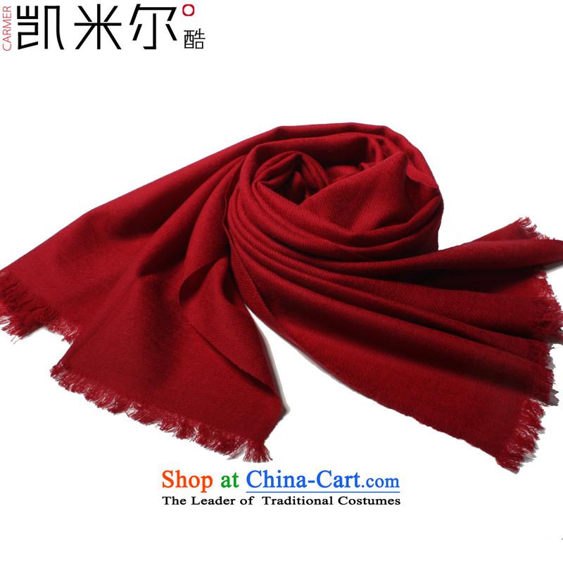 Kemi's core2015 stylish wooler scarf wild Solid Pure wool woolen scarves twill shawl shawl two wine red