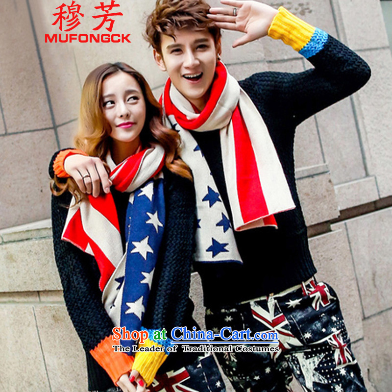 Mubarak Fong couples scarf new autumn and winter 2015 color streaks stars couples collision, scarf men and women-wild a red