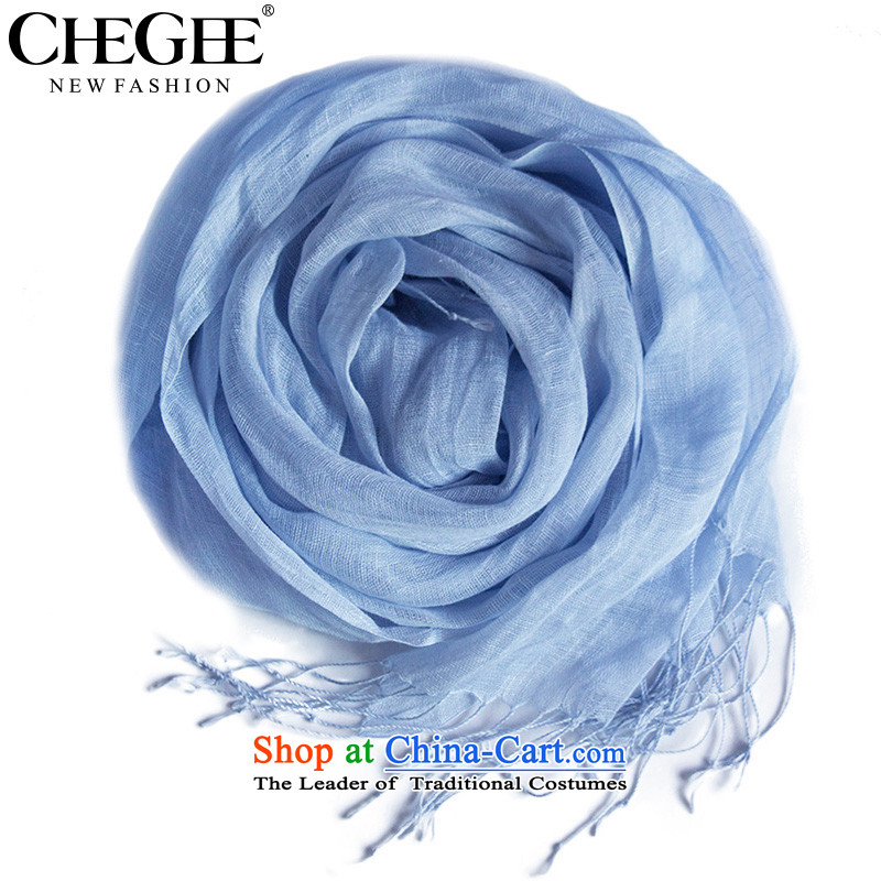The autumn and winter linen flow CHEGEE su scarf pure color thin, sunshades sunscreen cotton linen beach scarf long wild wind arts and light blue