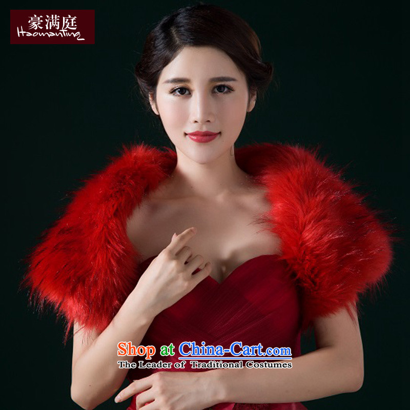 The bride shawl red vest gross long hairs fall and winter new stylish wedding dresses to send external kit sleeveless short of female Red