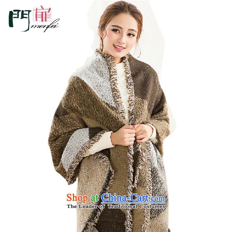 Door swings scarf female western autumn and winter warm emulation plus long thick hair cashmere tartan scarf Ms.? name ethnic turmoil, Knitting scarves shawl edging with two khaki 190 cm * 60 cm