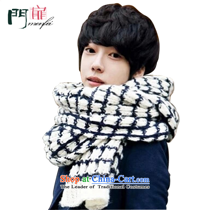 Door swings scarf male winter new taxi universal Knitting scarves men and women Korean couples warm mohair scarf stylish and simple Knitting scarves white checkered leisure + navy blue stripes 200*40 cm