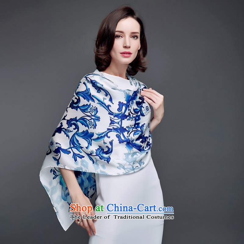 Blossom Cheung autumn new president long towel silk satin silk scarf blue stamp Wild Women shawl s9517 porcelain