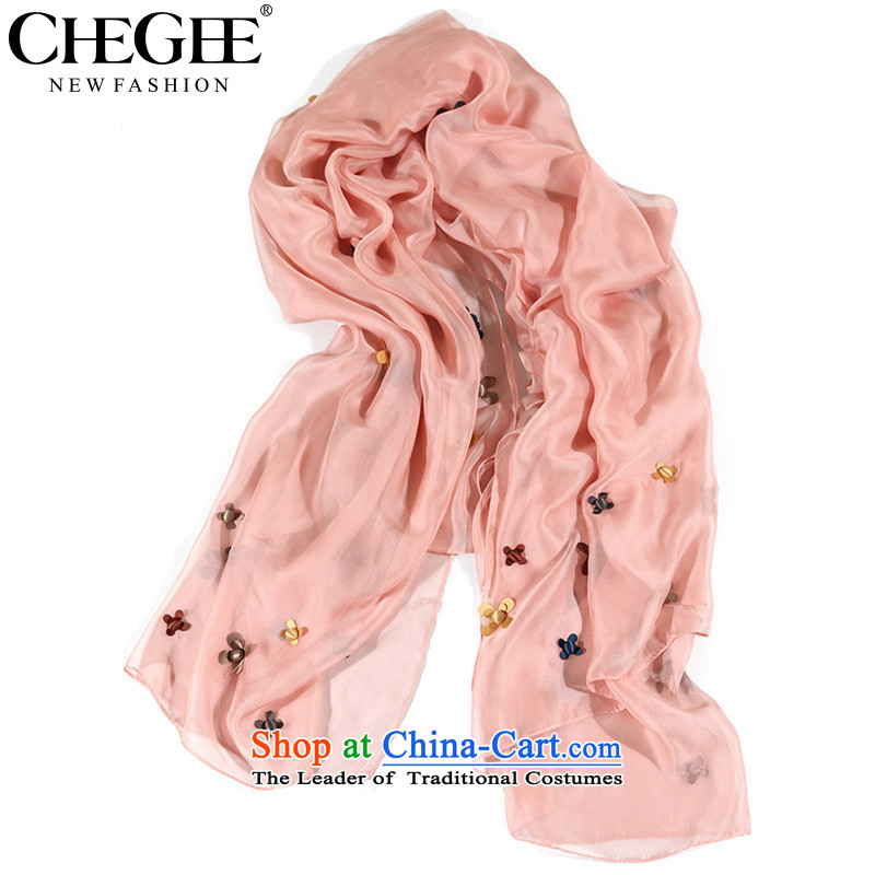 The autumn flowers CHEGEE anthology embroidery silk scarf Korean three-dimensional flowers emulation silk scarves large air-conditioned sunscreen shawl Pink
