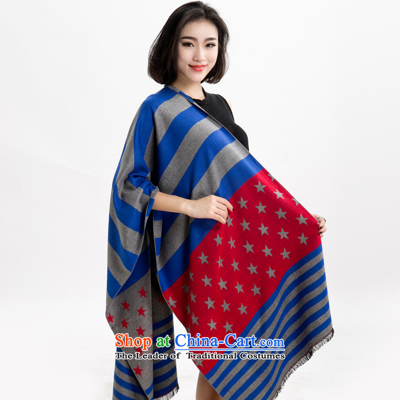 The autumn and winter new Western big stars and stripes extension of the scarf cashmere shawls big stars streaks warm a003-color