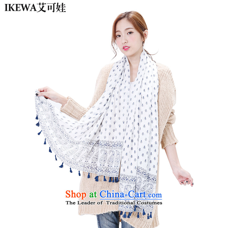 Hiv can be wa IKEWA emulation silk scarves scarves, 2015 autumn and winter han bum-silk and cotton fresh flower flow blue cashews possession Su Fancy Scarf Beige