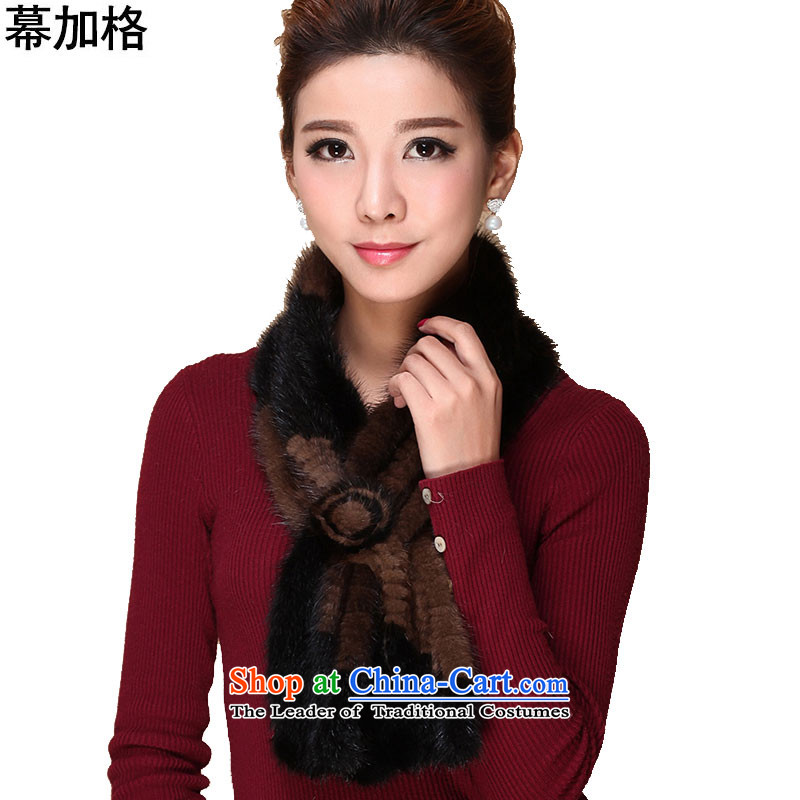 The Gagra of autumn and winter stylish new warm water Sable Hair braided Ms. scarf wild Western Wind fur muffler M3312 Lady Black stitching