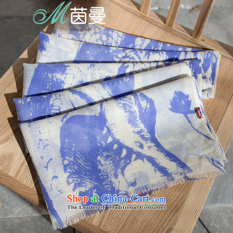 Athena Chunew autumn 2015 Cayman thin scarf arts Wild Women Fancy Scarf of dual-use as soon as possible and blue 853140188 (9.11 Nga Blue 9.11 shipment shipment