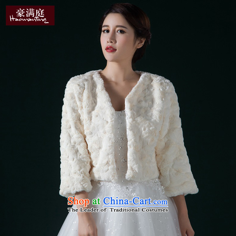 The bride autumn and winter marriage wedding wedding shawl jacket in gross long-sleeved without collars emulation mink anti-fur Sleek and versatile m White