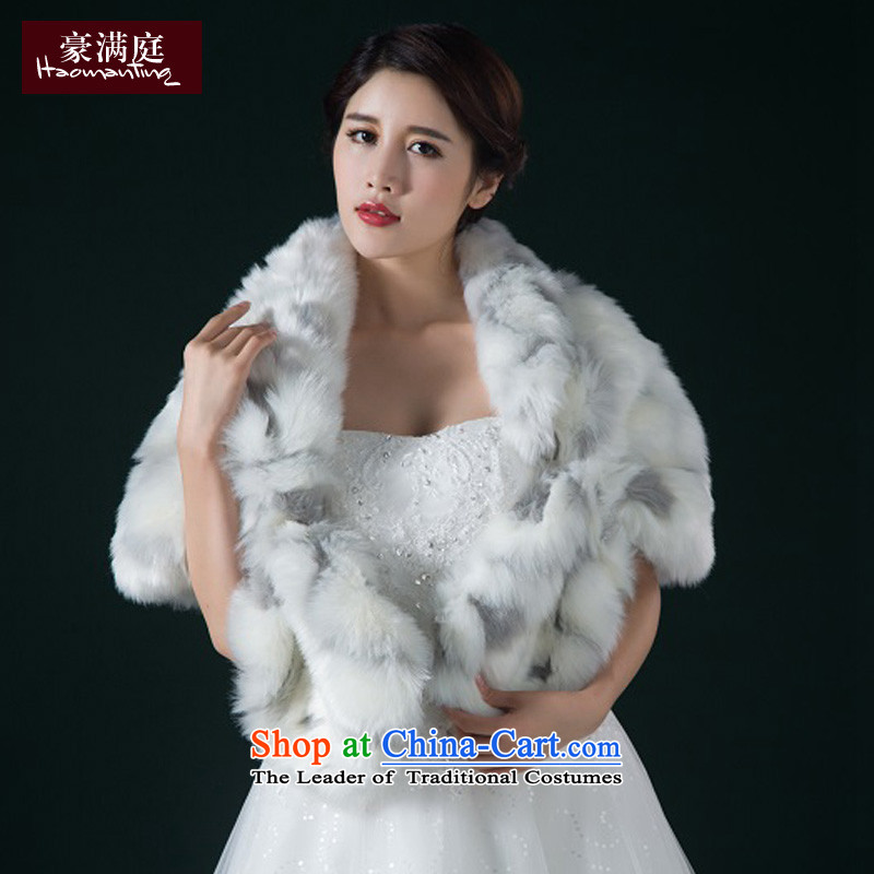 The new 2015 winter wedding gross shawl bride wedding dress banquet annual Korean thick warm color pictures at small shoulder