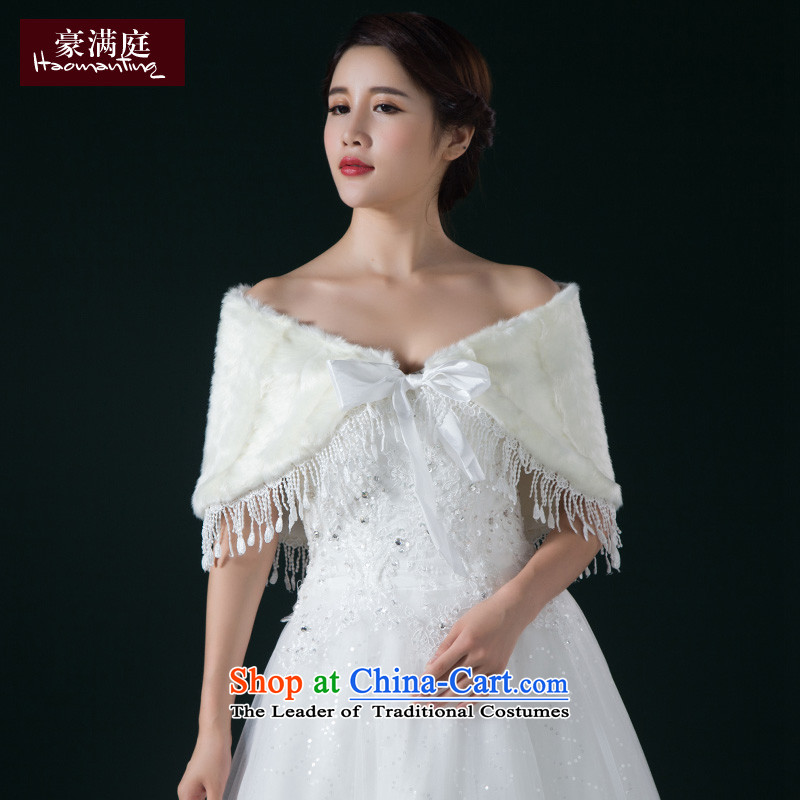 The bride's gross shawl new 2015 winter marriage wedding fashionable upper white emulation fur rabbit hair shawl cloak m White