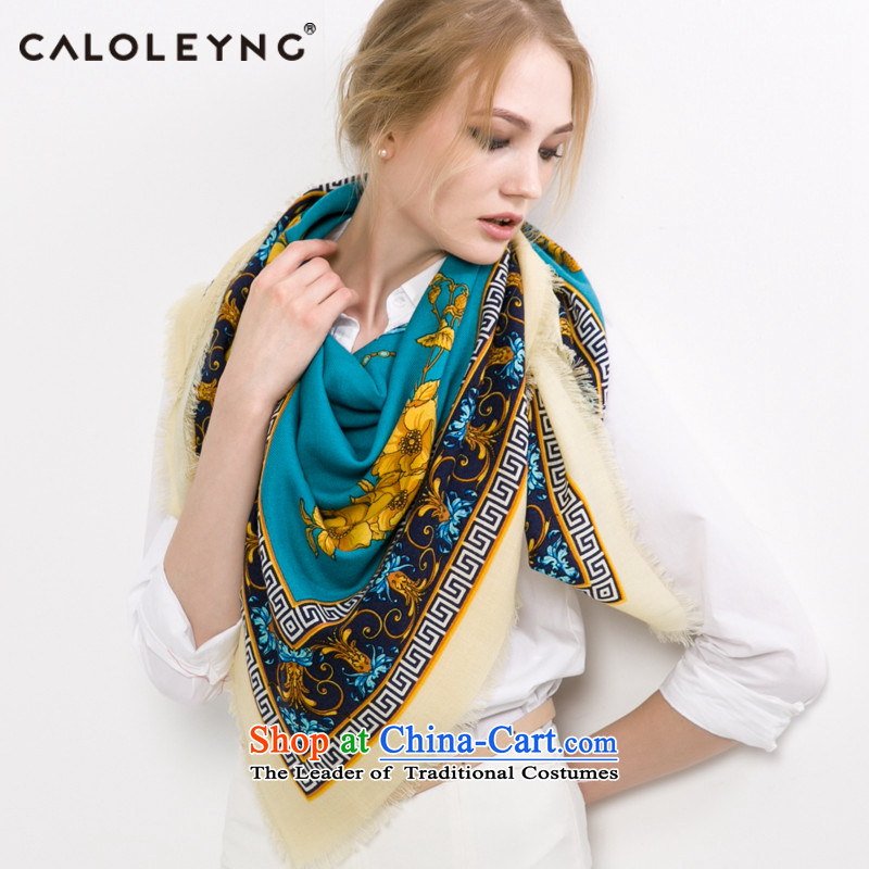 Charlotte sheep fleece scarf and poised to female wool large towel with Fancy Scarf of autumn and winter warm shawl blue