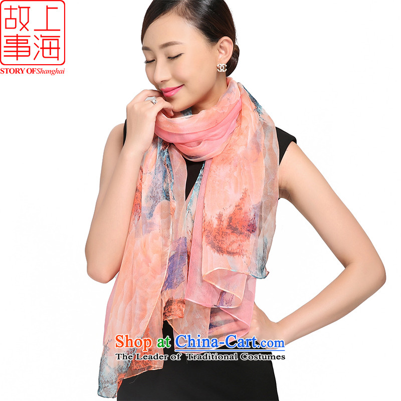 Shanghai Story 2015 new silk scarves female summer sunscreen herbs extract beach towel gittoes silk shawls bustling 3,000 178052 Pink