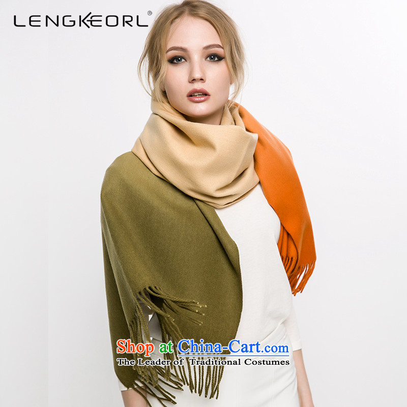 Ling Ke wooler scarf of ethnic maxi shawl use two female scarf Korean winter thick warranty lime green gradient eastward Su