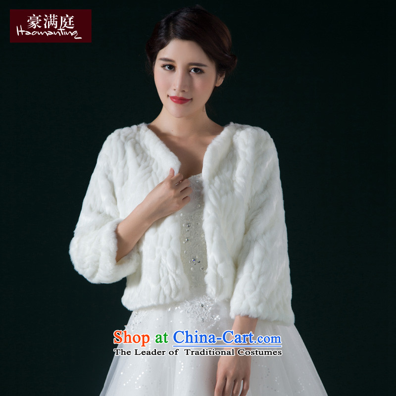 The bride wedding dresses gross shawl of autumn and winter 2015 new marriage in small white long-sleeved jacket and stylish white