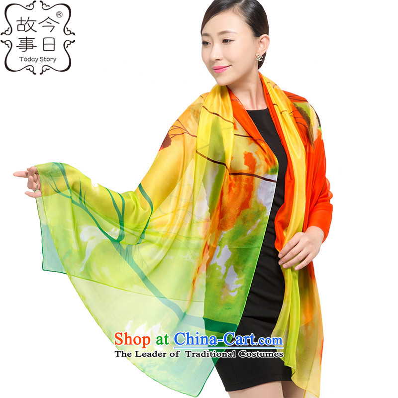 Today story autumn and winter chiffon long towel Fancy Scarf two with women聽J5143聽Orange green