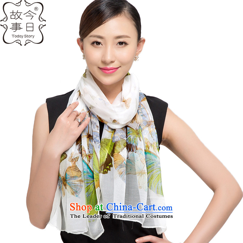 Today story silk scarfs shawl long towel female herbs extract sunscreen beach towel聽J5149聽White