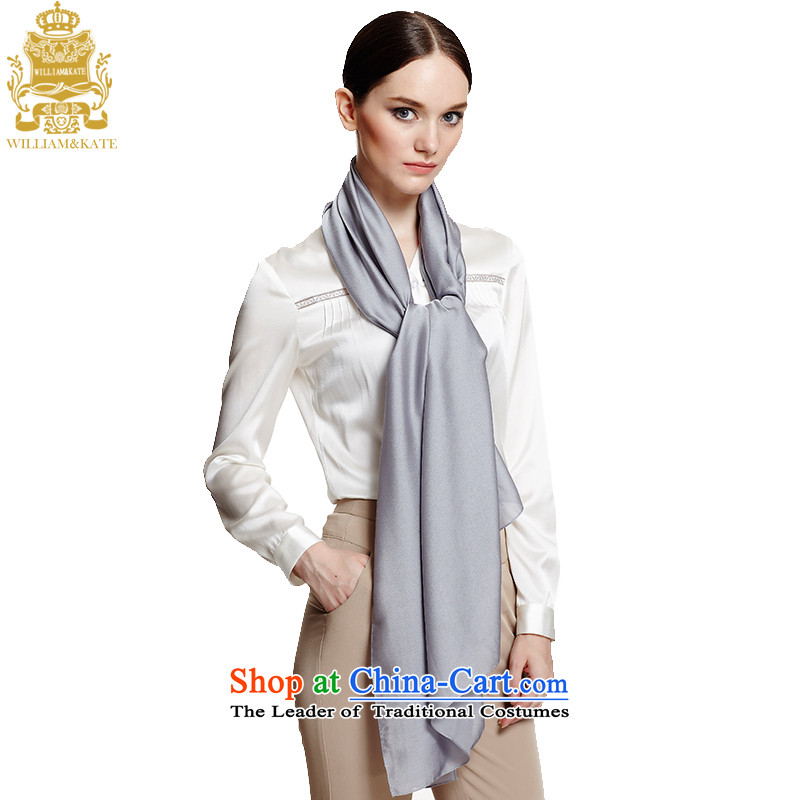 Williams & Ms. Kate WILLIAM&KATE silk scarf solid color satin scarf Fancy Scarf two with gray
