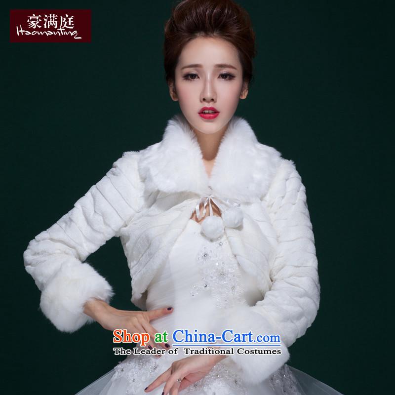 2015 new wedding white hair shawl thick bride bridesmaid wedding dress winter coats of long-sleeved small short white