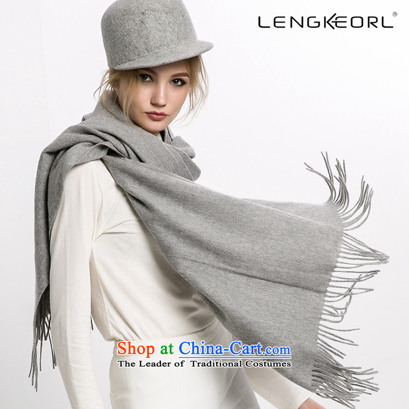 Ling Ke wooler scarf large shawl use two female national wind scarf thick winter cloak edging Light Gray
