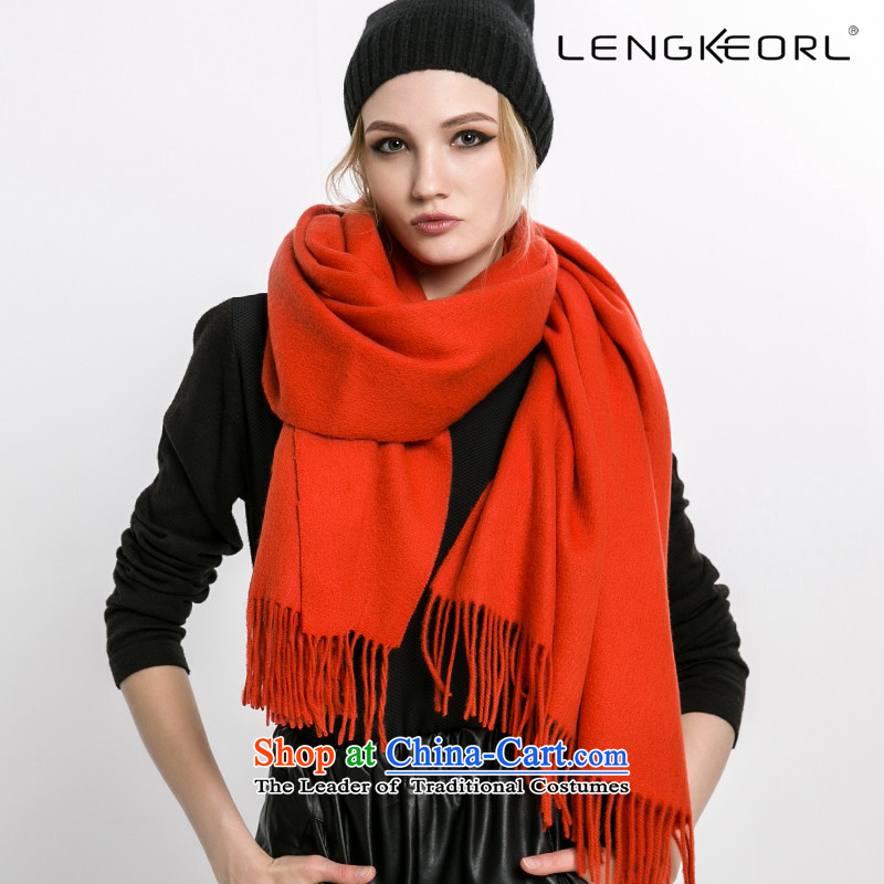 Ling Ke wooler scarf hundreds of larger shawl cloak female scarves with two Thick edging of autumn and winter orange
